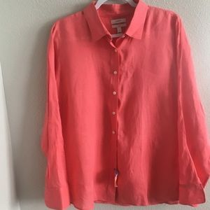 J. Crew perfect linen button down shirt. Size 12.